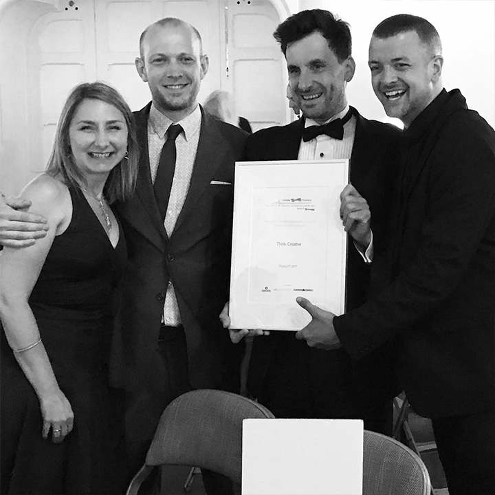 Think Creative staff Karina Witton-Dauris, Mark Hinxman and Jake Sanders with owner Phil Carre at the Winchester Business Excellence Awards 2017