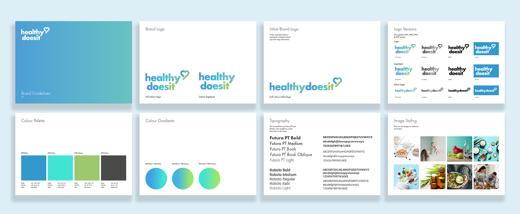 A flat lay of the healthy does it brand guidelines