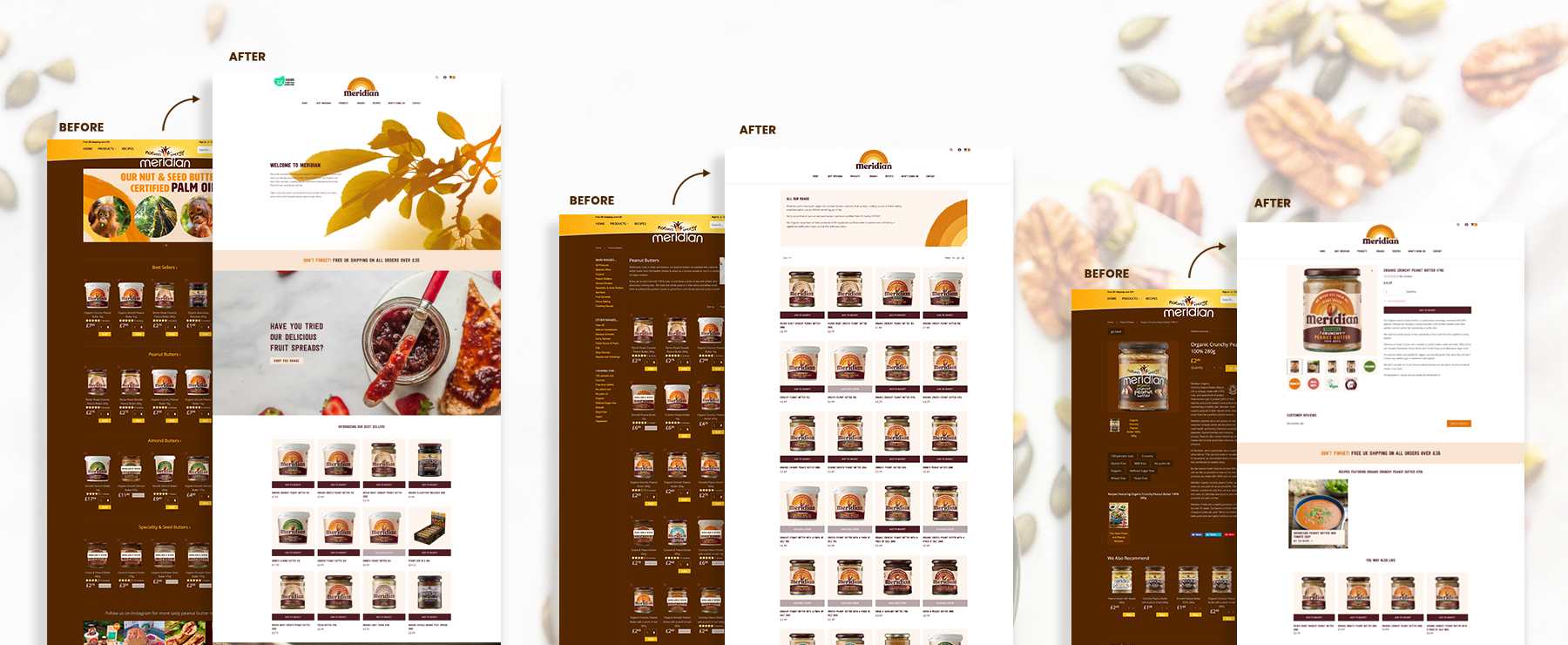Before and afters of the Meridian website