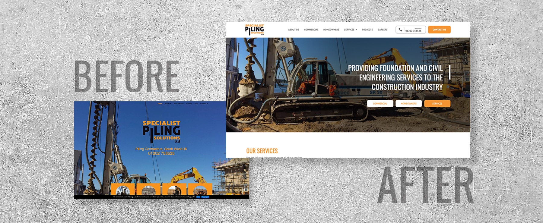 before and after of the specialist piling solutions website