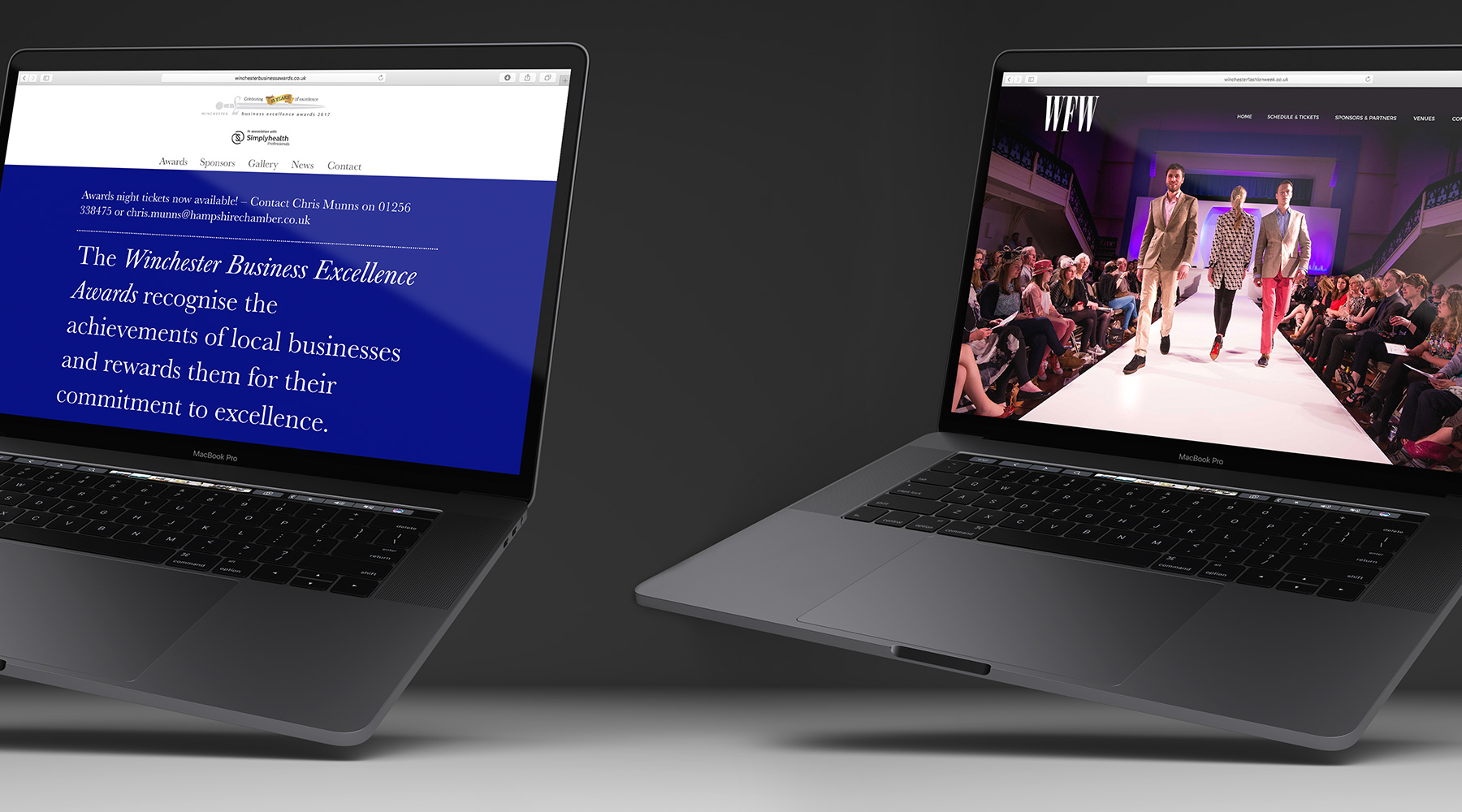 Winchester Business Excellence Awards Website and Winchester Fashion Week Website