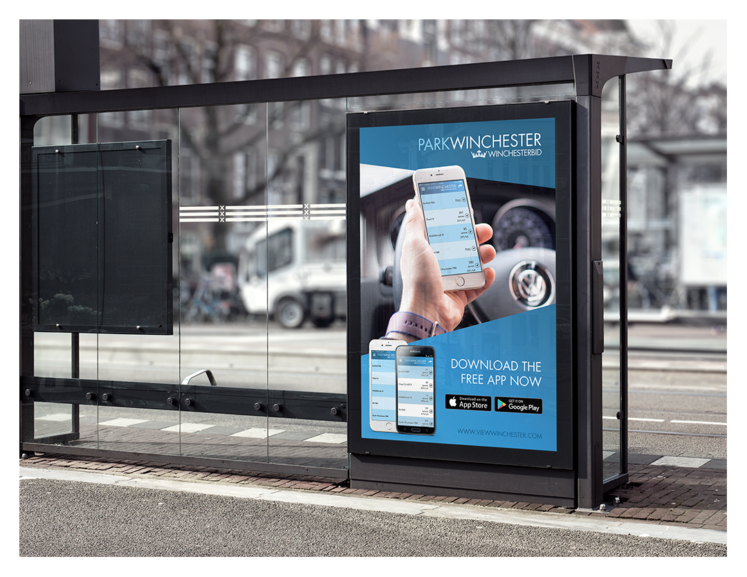 Winchester BID Parking App Bus Stop Advert