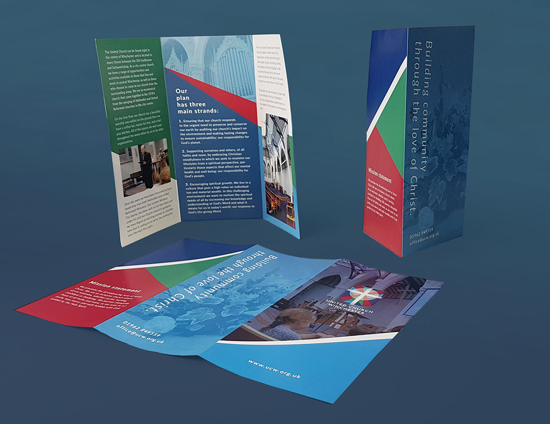 Tri-fold leaflets advertising the churches services